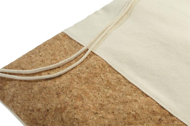 close up view of cotton and cork drawstring bag