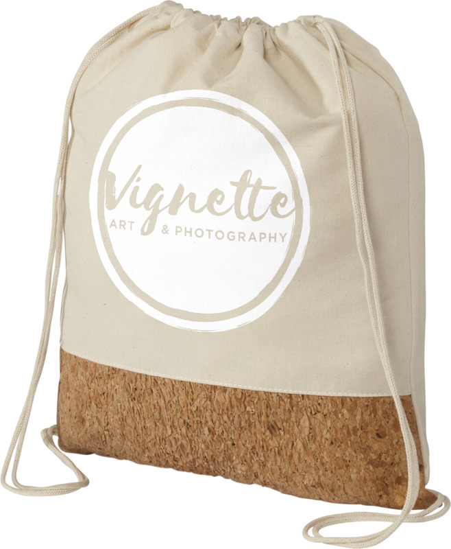 cotton and cork drawstring bag with business logo on it