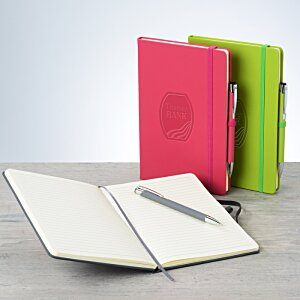Pink and green soft touch notebooks with pen