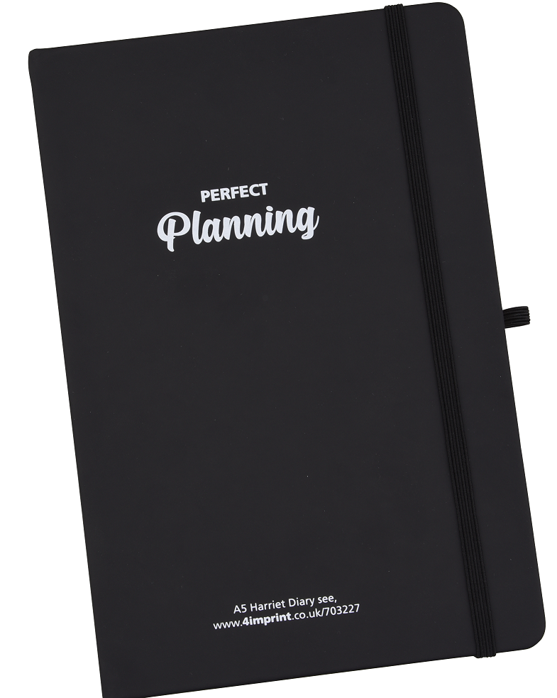 Black Diary with imprinted logo on cover