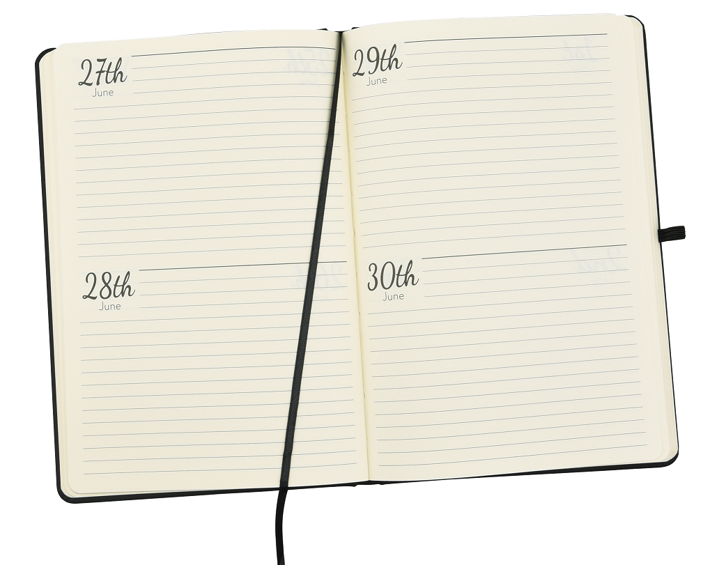 calendar pages inside diary notebook